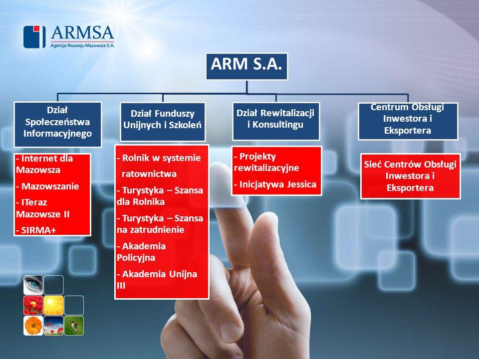 ARM S.A. Dział Społeczeństwa Informacyjnego - Internet dla Mazowsza