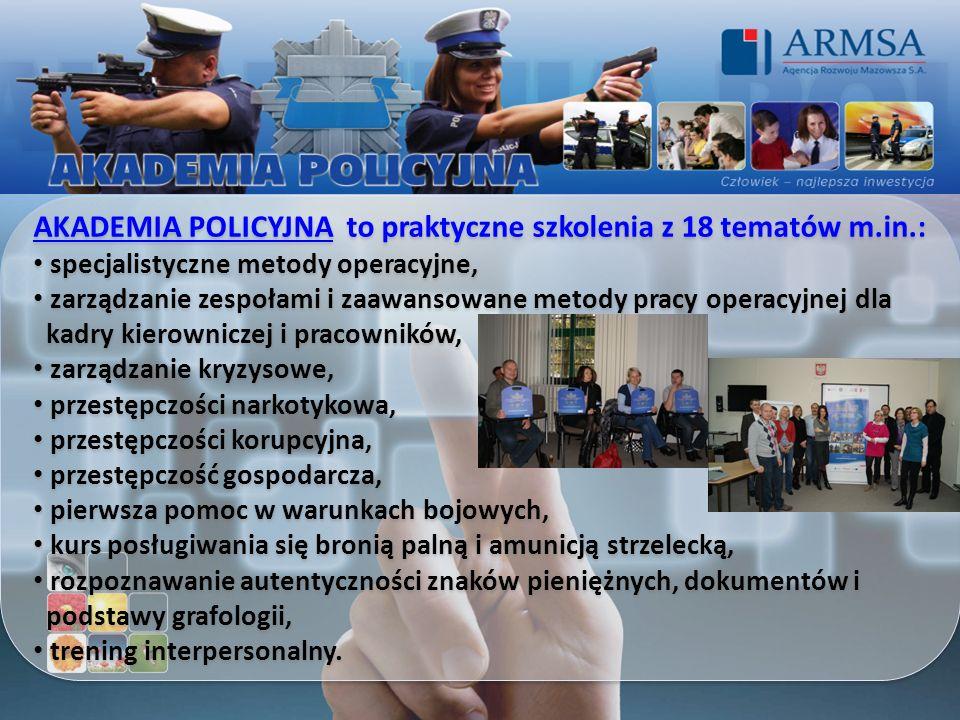 AKADEMIA POLICYJNA to praktyczne szkolenia z 18 tematów m.in.: