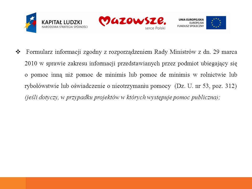 Formularz informacji zgodny z rozporządzeniem Rady Ministrów z dn