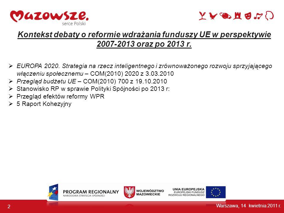 Kontekst debaty o reformie wdrażania funduszy UE w perspektywie 2007-2013 oraz po 2013 r.
