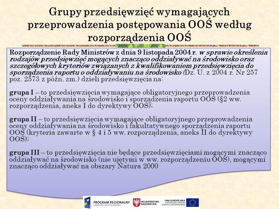 Grupy przedsięwzięć wymagających przeprowadzenia postępowania OOŚ według rozporządzenia OOŚ