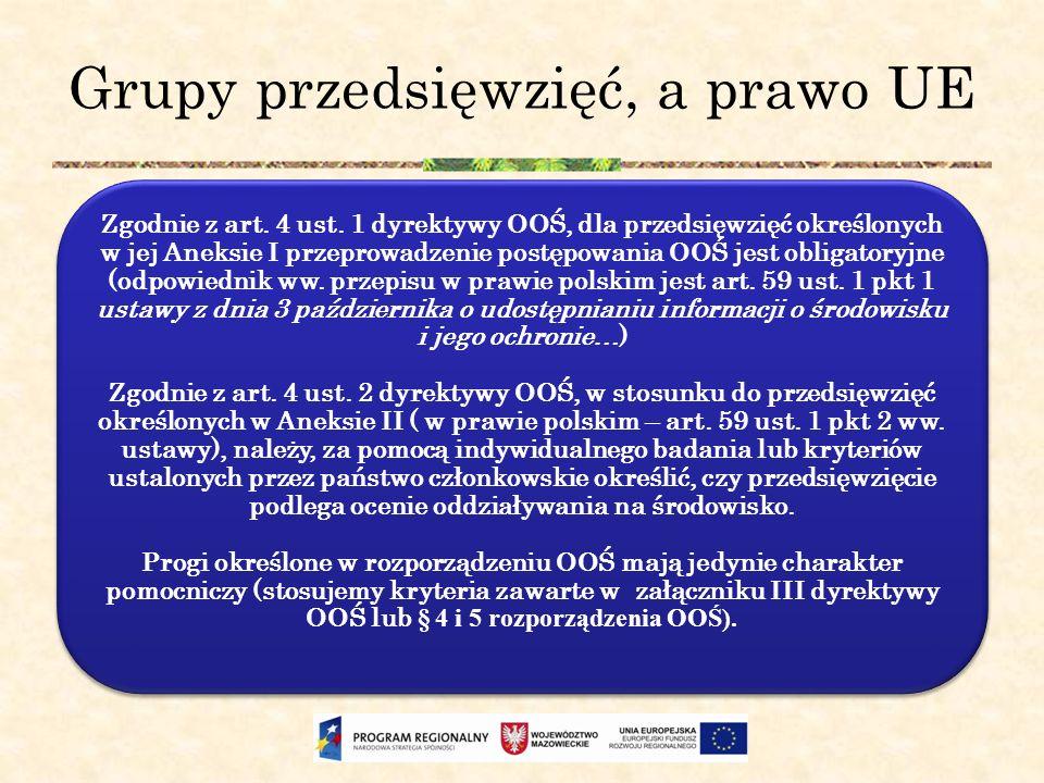 Grupy przedsięwzięć, a prawo UE