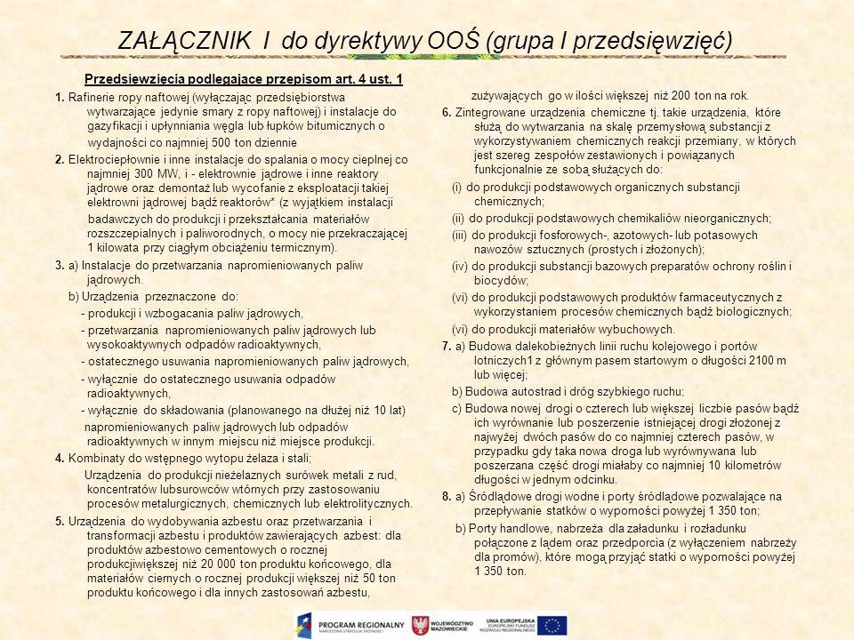 ZAŁĄCZNIK I do dyrektywy OOŚ (grupa I przedsięwzięć)