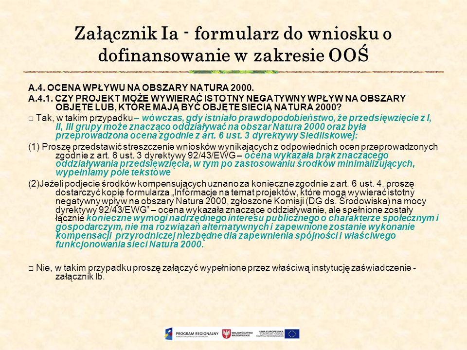 Załącznik Ia - formularz do wniosku o dofinansowanie w zakresie OOŚ
