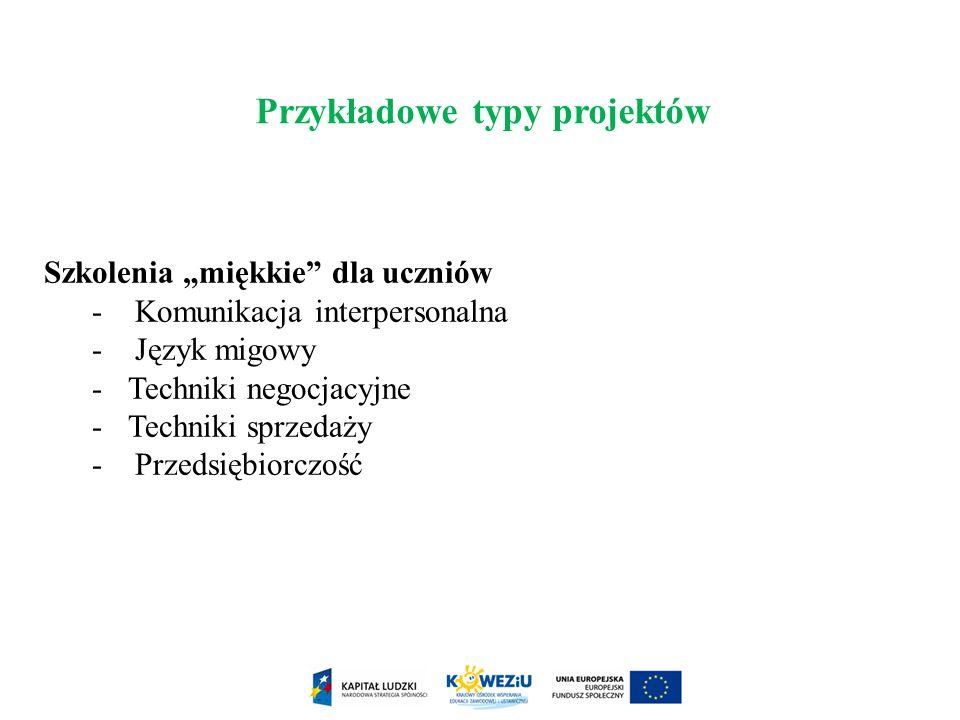 Przykładowe typy projektów
