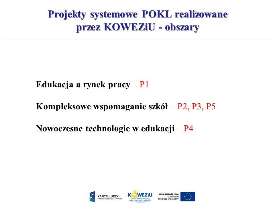 Projekty systemowe POKL realizowane przez KOWEZiU - obszary