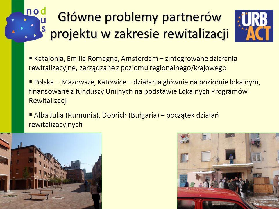 Główne problemy partnerów projektu w zakresie rewitalizacji