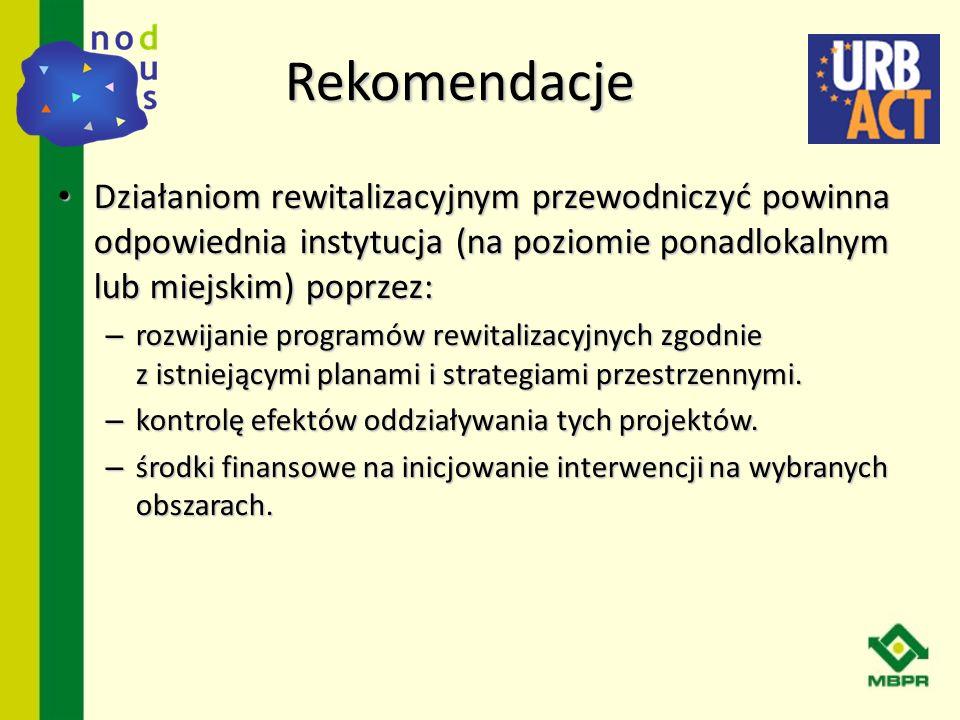 RekomendacjeDziałaniom rewitalizacyjnym przewodniczyć powinna odpowiednia instytucja (na poziomie ponadlokalnym lub miejskim) poprzez: