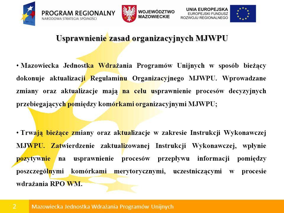 Usprawnienie zasad organizacyjnych MJWPU