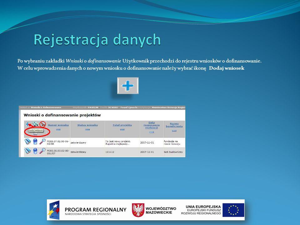Rejestracja danych Po wybraniu zakładki Wnioski o dofinansowanie Użytkownik przechodzi do rejestru wniosków o dofinansowanie.