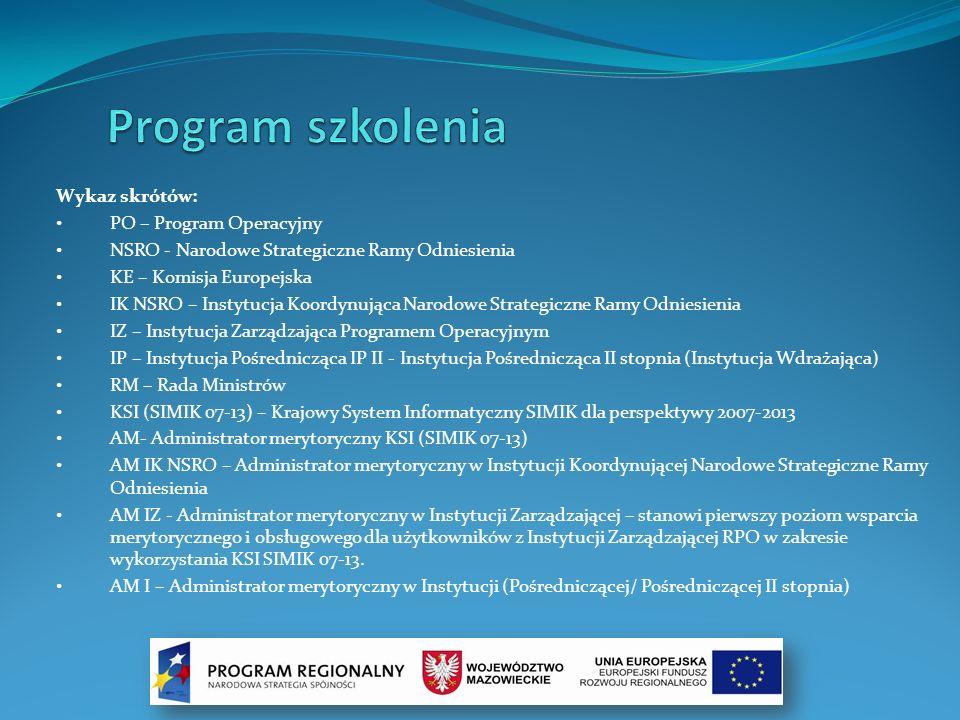 Program szkolenia Wykaz skrótów: PO – Program Operacyjny