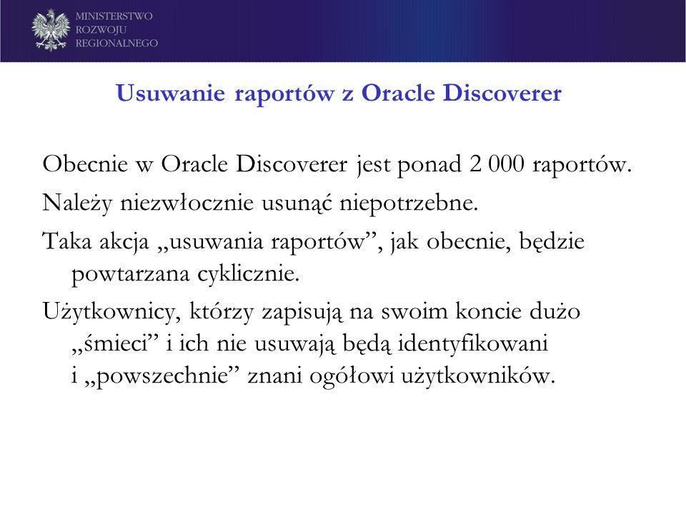 Usuwanie raportów z Oracle Discoverer