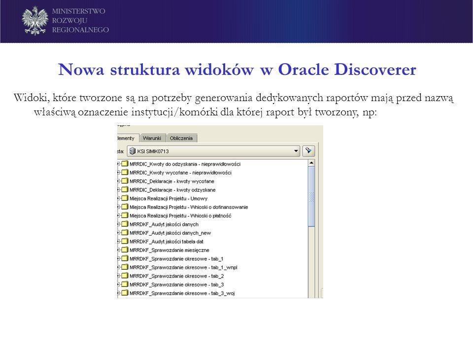 Nowa struktura widoków w Oracle Discoverer