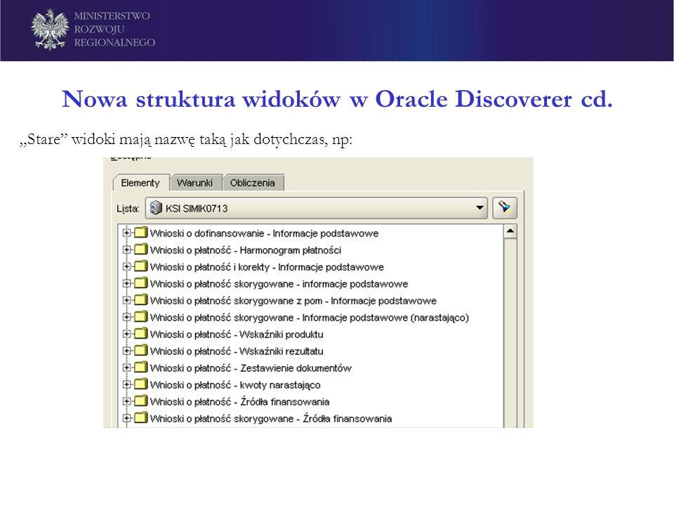 Nowa struktura widoków w Oracle Discoverer cd.