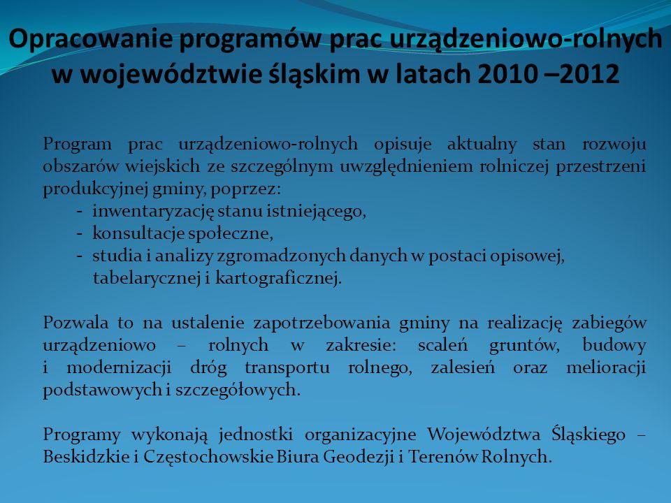 Opracowanie programów prac urządzeniowo-rolnych w województwie śląskim w latach 2010 –2012