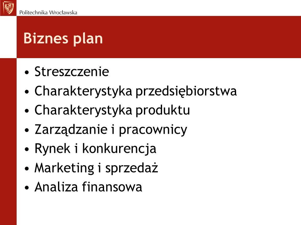 Biznes plan Streszczenie Charakterystyka przedsiębiorstwa
