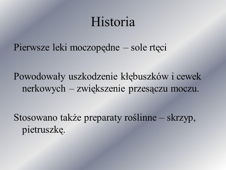Historia Pierwsze leki moczopędne – sole rtęci