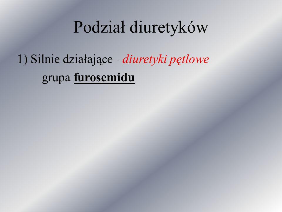 Podział diuretyków 1) Silnie działające– diuretyki pętlowe