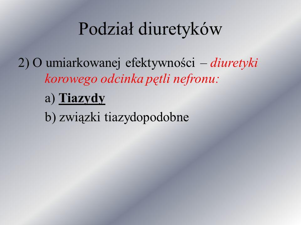 Podział diuretyków 2) O umiarkowanej efektywności – diuretyki korowego odcinka pętli nefronu: a) Tiazydy.