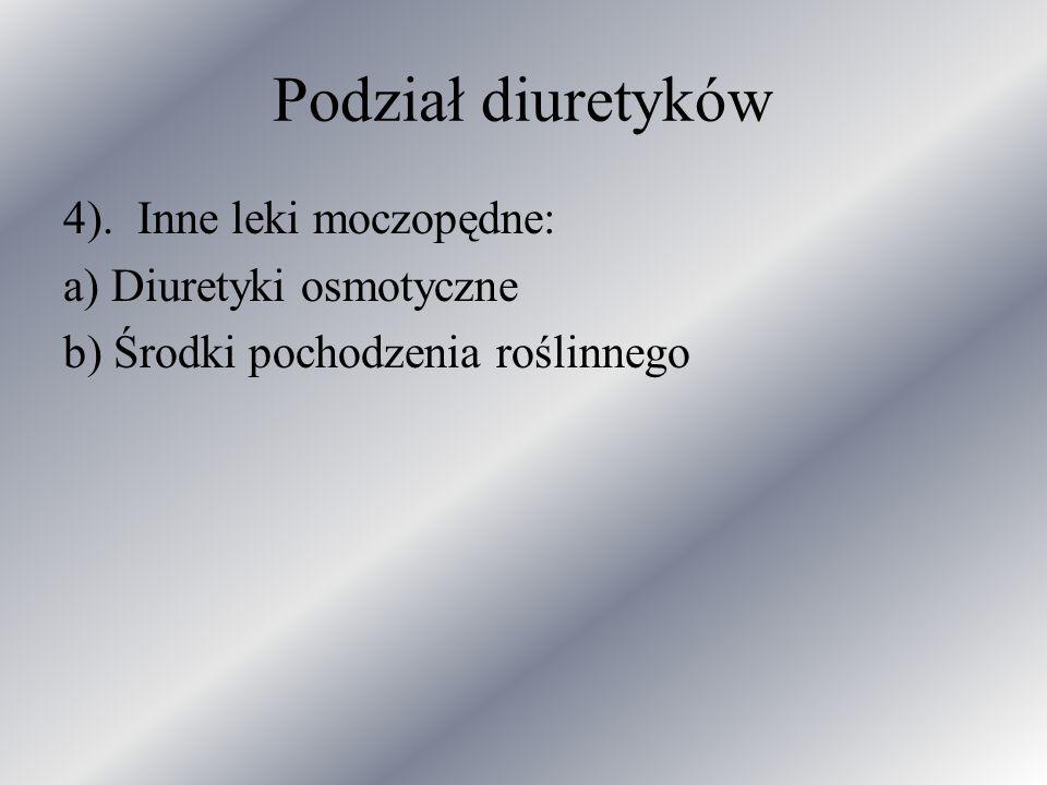 Podział diuretyków 4). Inne leki moczopędne: a) Diuretyki osmotyczne
