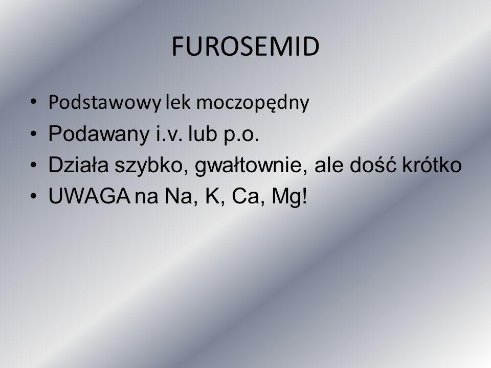 FUROSEMID Podstawowy lek moczopędny Podawany i.v. lub p.o.