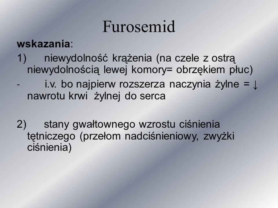 Furosemid wskazania: 1) niewydolność krążenia (na czele z ostrą niewydolnością lewej komory= obrzękiem płuc)