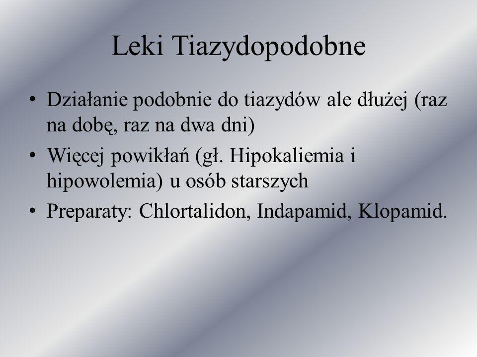 Leki Tiazydopodobne Działanie podobnie do tiazydów ale dłużej (raz na dobę, raz na dwa dni)