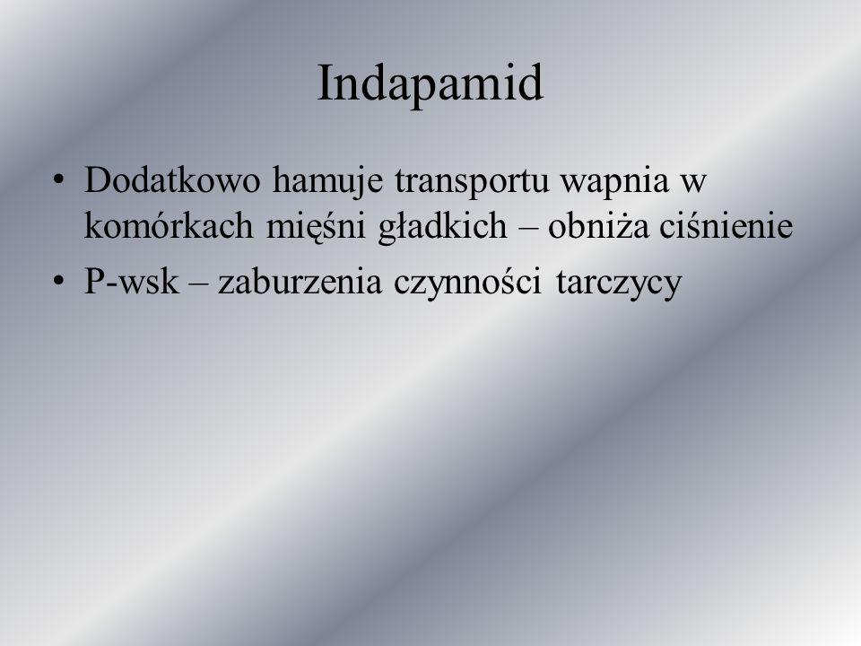Indapamid Dodatkowo hamuje transportu wapnia w komórkach mięśni gładkich – obniża ciśnienie.