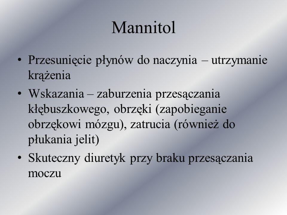 Mannitol Przesunięcie płynów do naczynia – utrzymanie krążenia