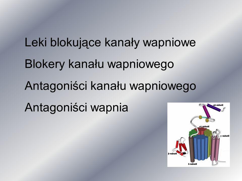 Leki blokujące kanały wapniowe Blokery kanału wapniowego Antagoniści kanału wapniowego Antagoniści wapnia