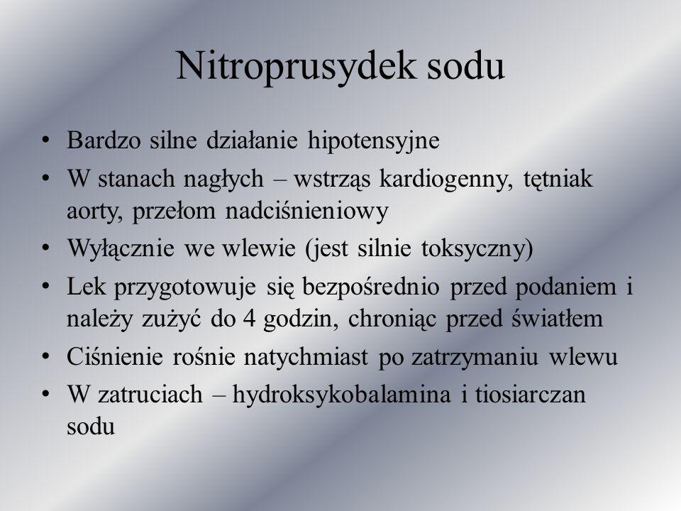 Nitroprusydek sodu Bardzo silne działanie hipotensyjne