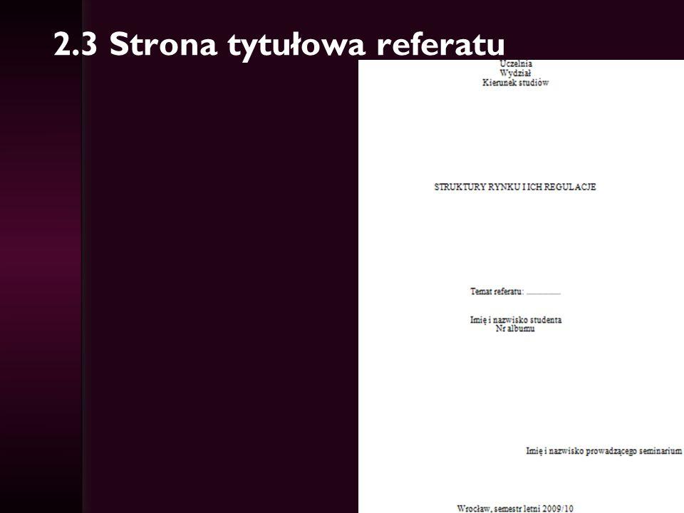 2.3 Strona tytułowa referatu