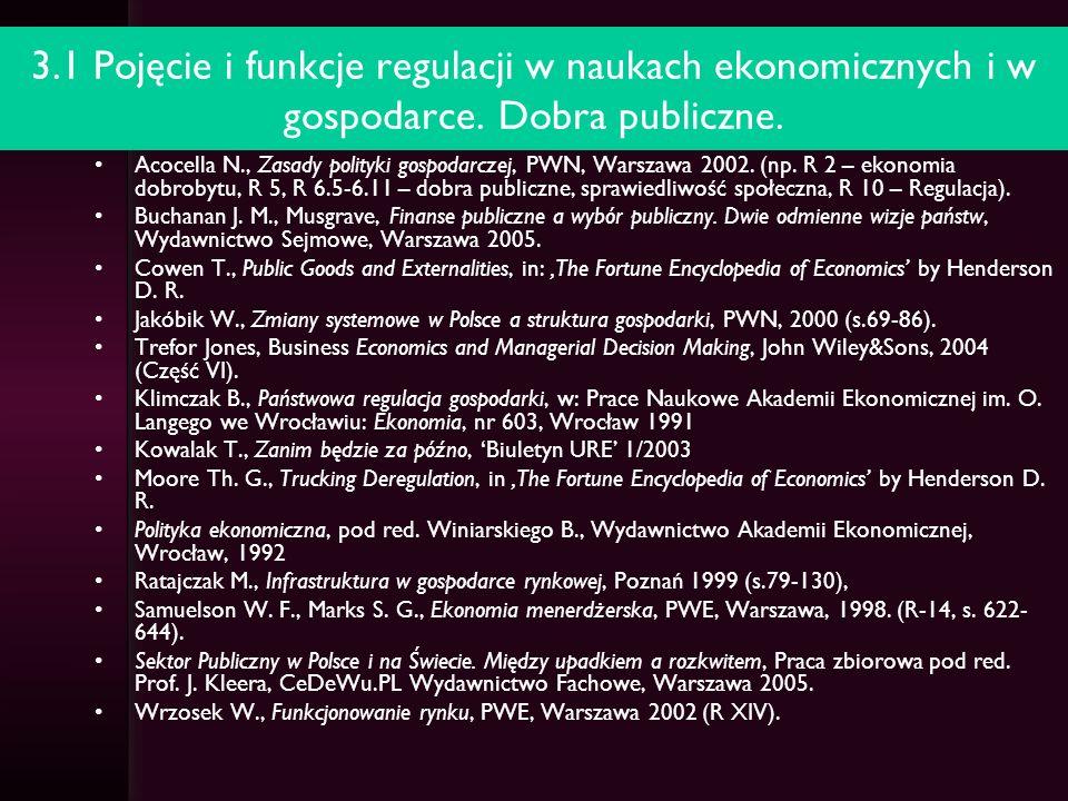 3.1 Pojęcie i funkcje regulacji w naukach ekonomicznych i w gospodarce. Dobra publiczne.