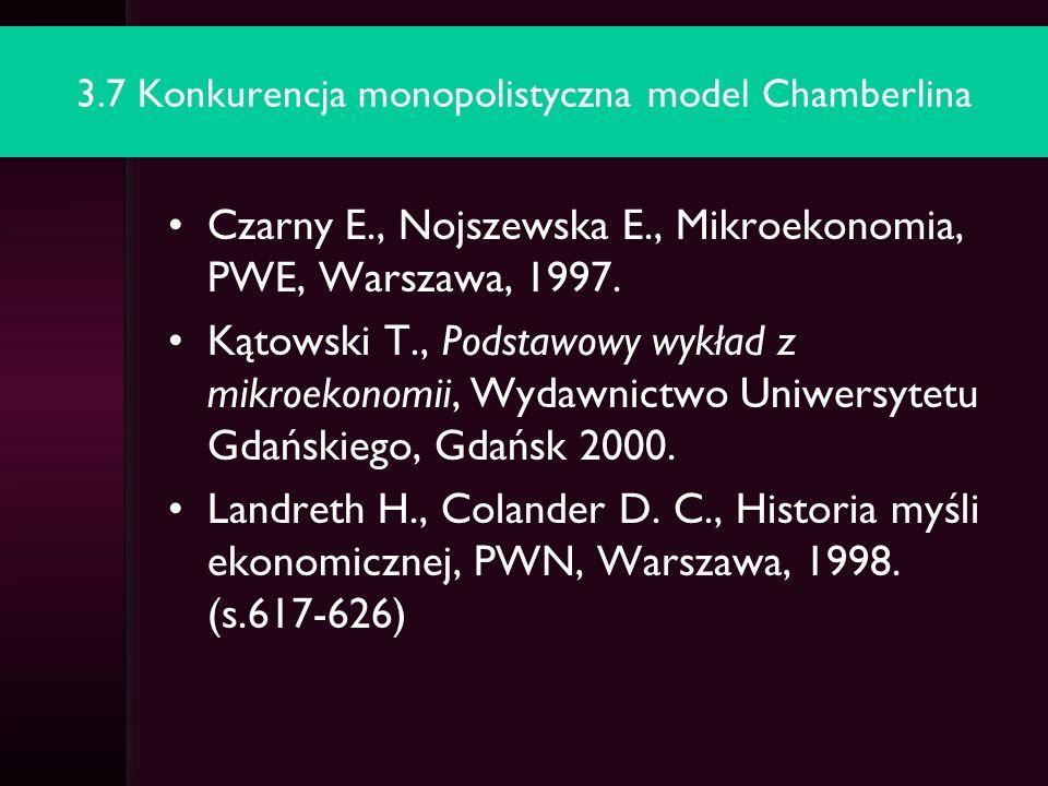 3.7 Konkurencja monopolistyczna model Chamberlina