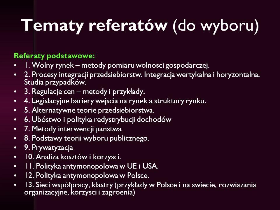 Tematy referatów (do wyboru)