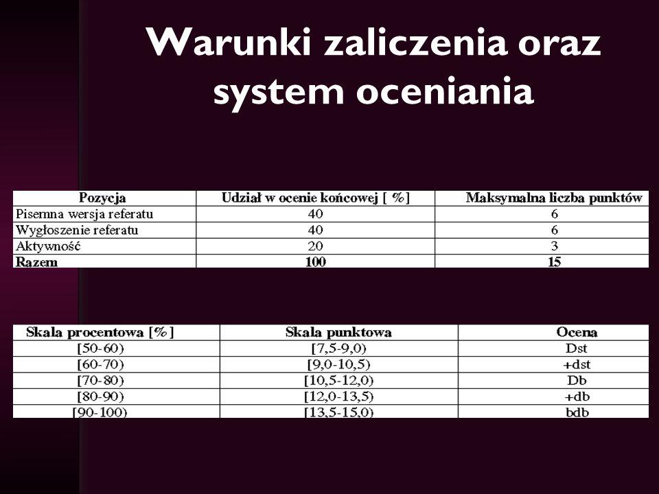 Warunki zaliczenia oraz system oceniania
