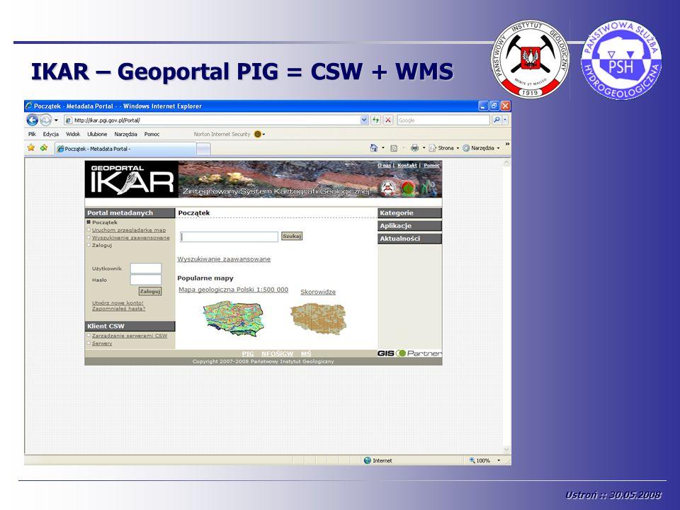 IKAR – Geoportal PIG = CSW + WMS