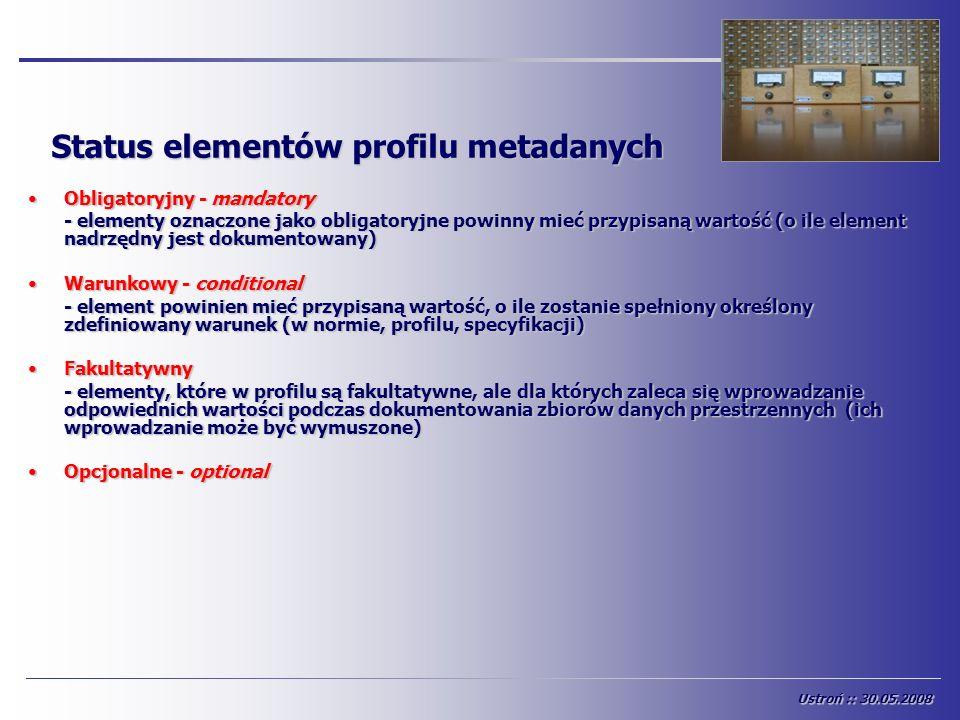 Status elementów profilu metadanych