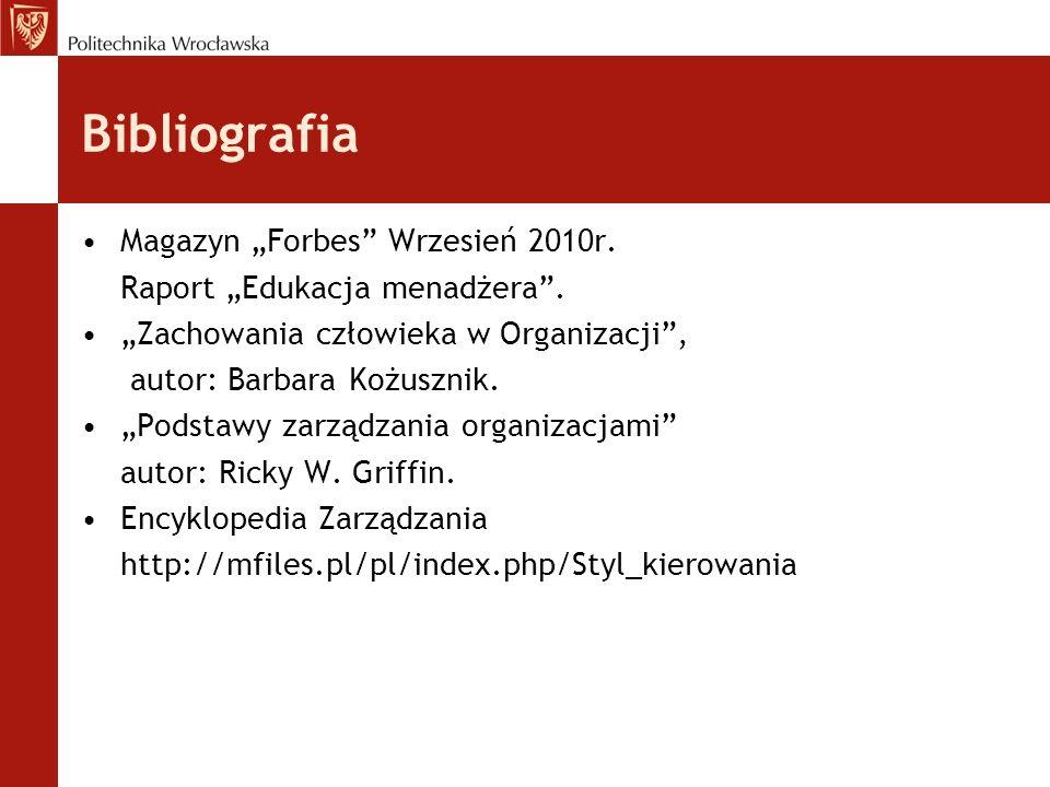 """Bibliografia Magazyn """"Forbes Wrzesień 2010r."""