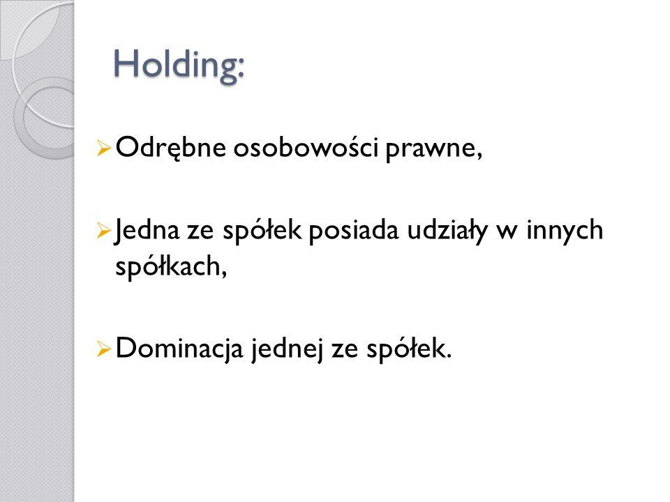 Holding: Odrębne osobowości prawne,