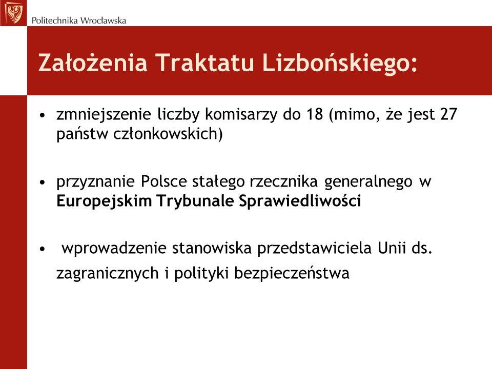 Założenia Traktatu Lizbońskiego: