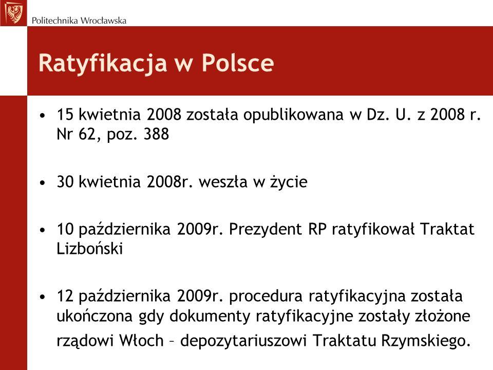 Ratyfikacja w Polsce 15 kwietnia 2008 została opublikowana w Dz. U. z 2008 r. Nr 62, poz. 388. 30 kwietnia 2008r. weszła w życie.