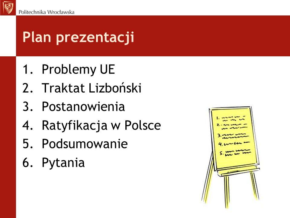 Plan prezentacji Problemy UE Traktat Lizboński Postanowienia