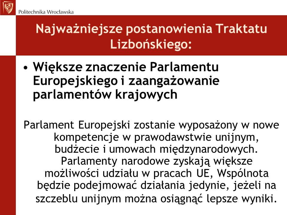 Najważniejsze postanowienia Traktatu Lizbońskiego: