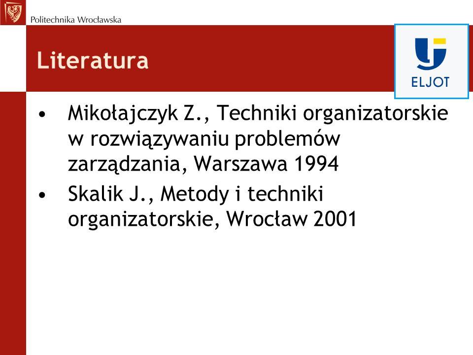 Literatura Mikołajczyk Z., Techniki organizatorskie w rozwiązywaniu problemów zarządzania, Warszawa 1994.
