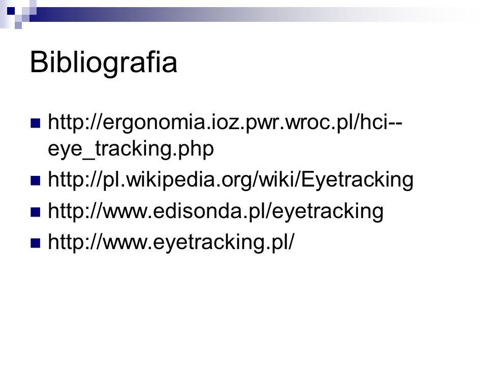 Bibliografia http://ergonomia.ioz.pwr.wroc.pl/hci--eye_tracking.php