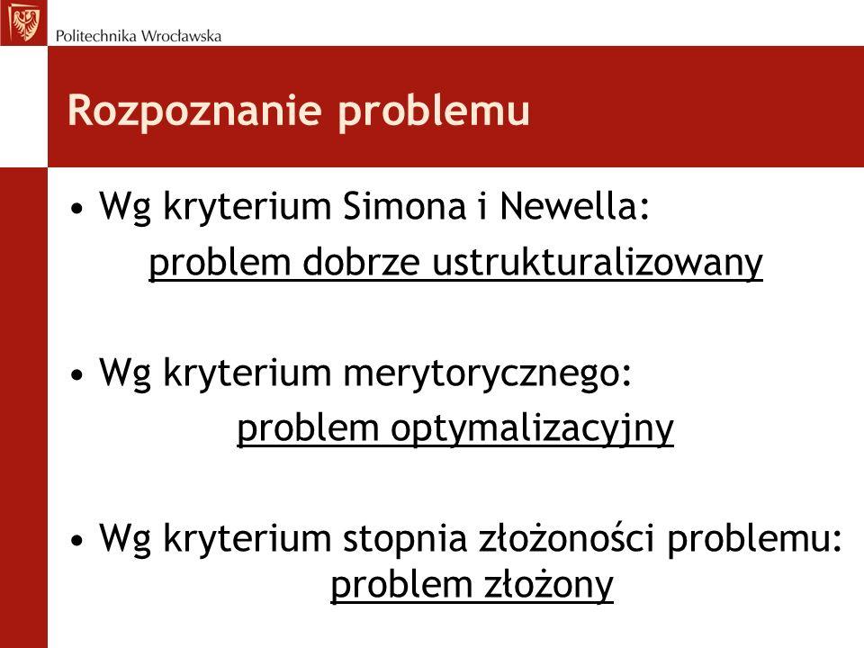 Rozpoznanie problemu Wg kryterium Simona i Newella: