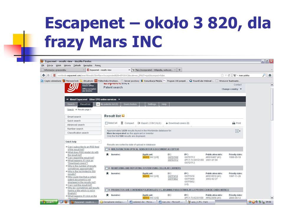 Escapenet – około 3 820, dla frazy Mars INC