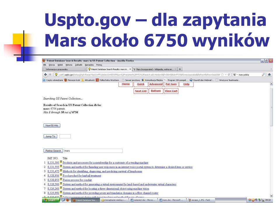 Uspto.gov – dla zapytania Mars około 6750 wyników