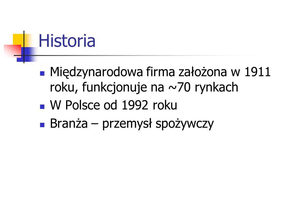 Historia Międzynarodowa firma założona w 1911 roku, funkcjonuje na ~70 rynkach. W Polsce od 1992 roku.